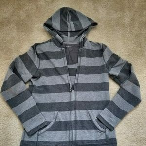 Gray and charcoal striped zipper hoodie